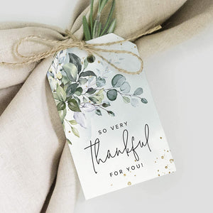 Thank You Gift Tags, 50 Greenery Watercolor Favors for Wedding, Bridal Shower, Baby Shower Favors