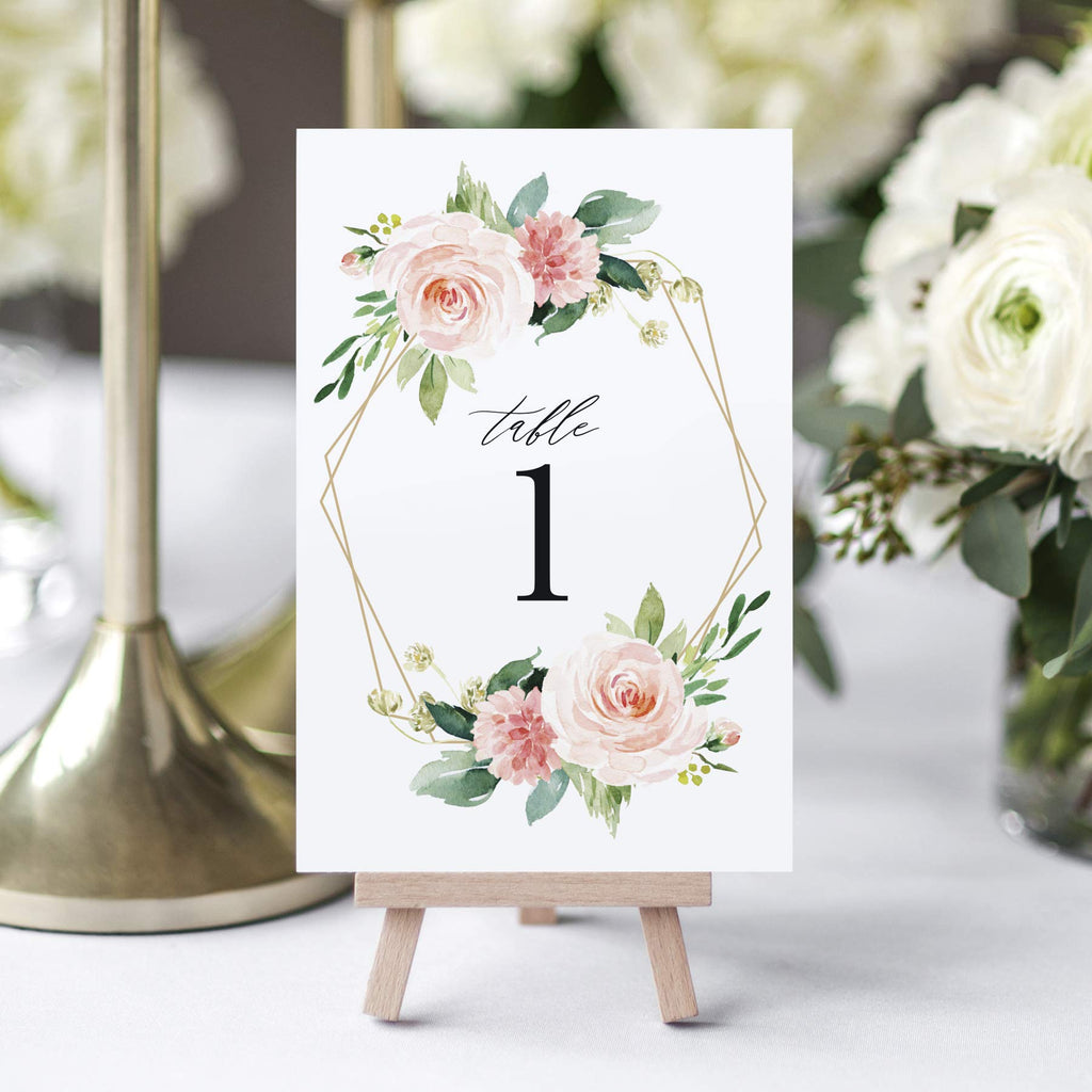 1-25 Geometric Blush Floral Table Numbers for all occasions