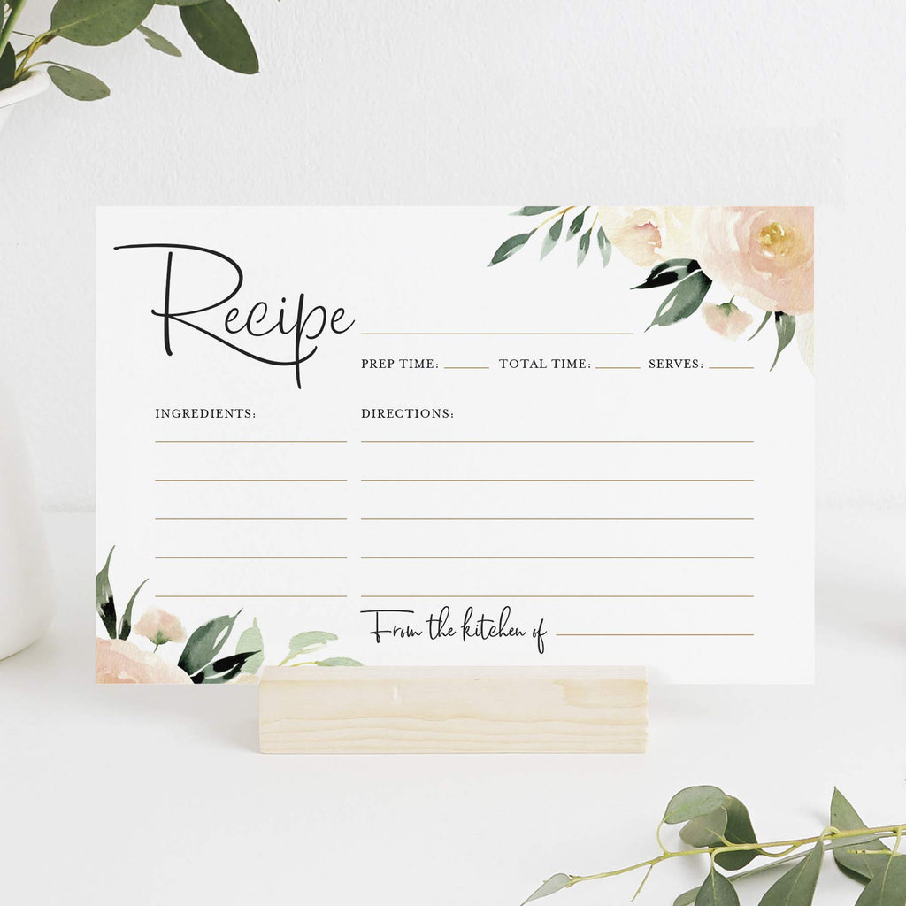 Blush Floral Recipe Cards 4x6 Double Sided — Coral and Greenery Flower design for Bridal Shower, Wedding Shower, Housewarming Gift (Pack of 50)