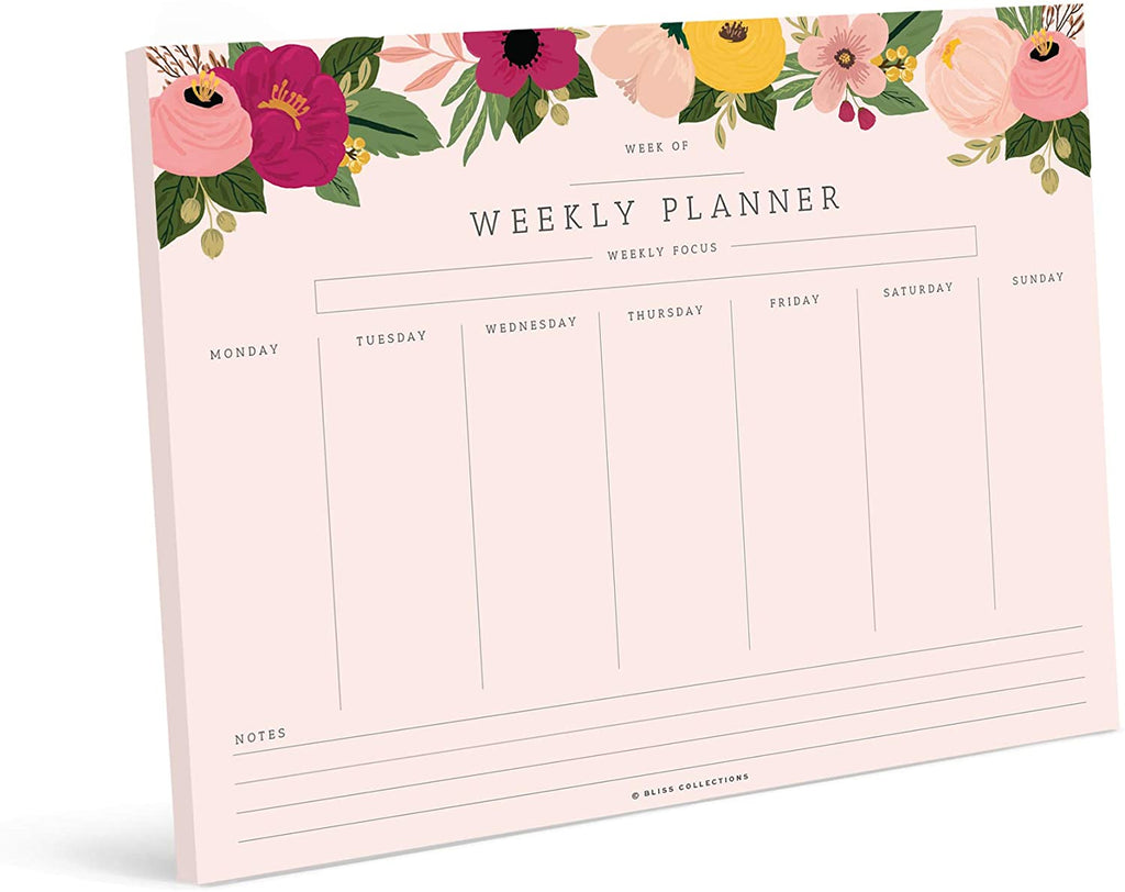 Weekly Planner with 50 Undated Tear Off Sheets, 8.5x11 Blush Floral Calendar, Gratitude, Monday-Friday, Notes — Stay Organized