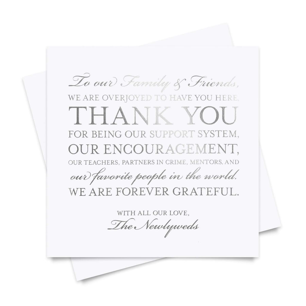 50 Silver Foil Place Setting Thank You Cards