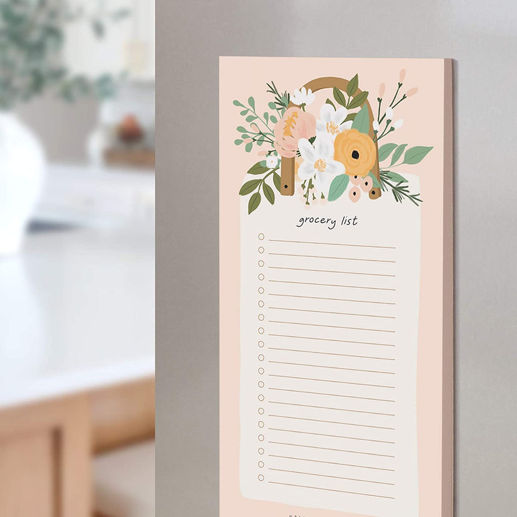Grocery List Pad for Fridge, Blossom Tear Off Notepad for Refrigerator, 4.5 x 7.5 inches, 50 Sheets