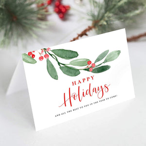 Happy Holidays Folded Christmas Greeting Cards with Envelopes