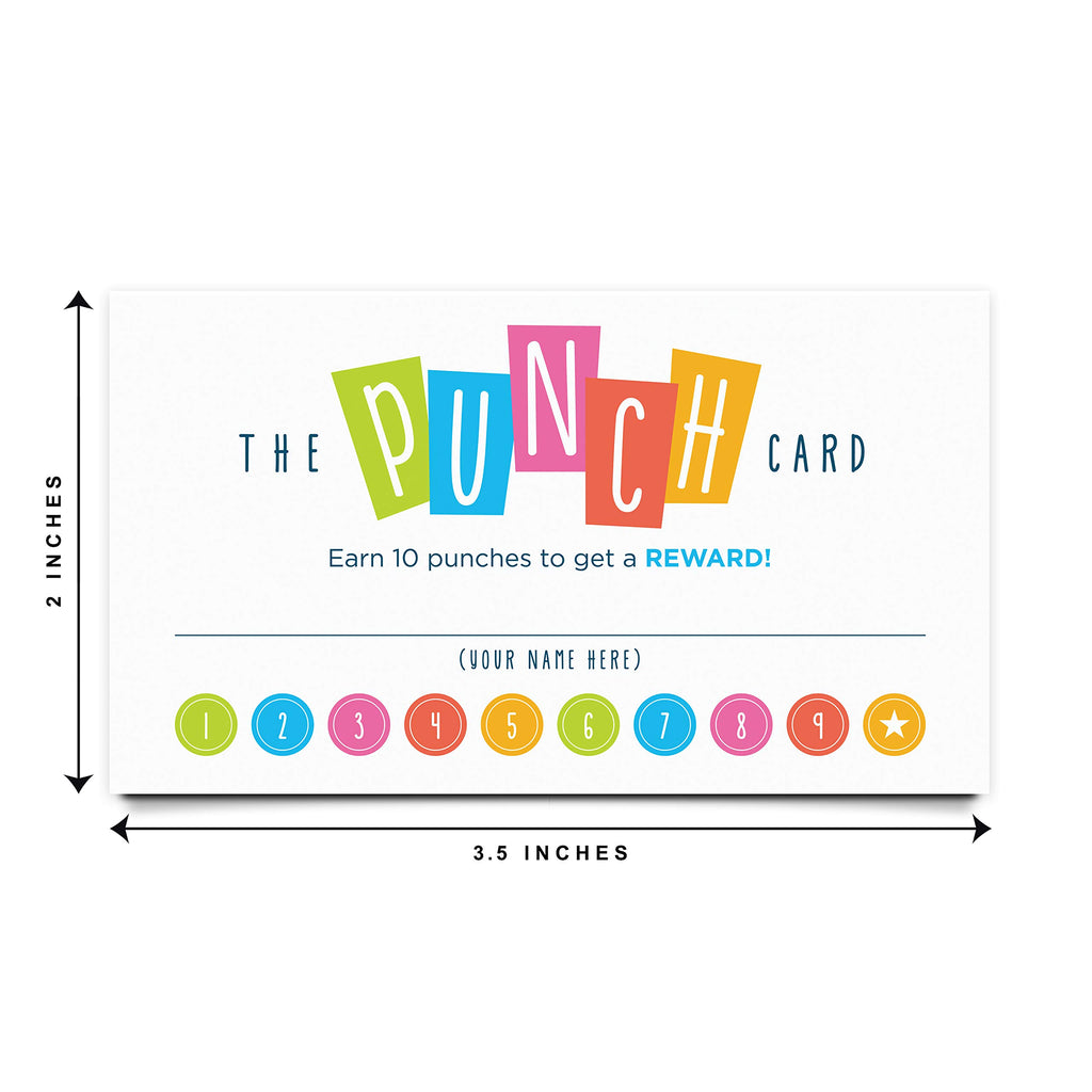 Punch Cards for Classroom, Behavior Incentive Loyalty Card, Chore Rewards, for Students, Kids and Children, 3.5x2 inches