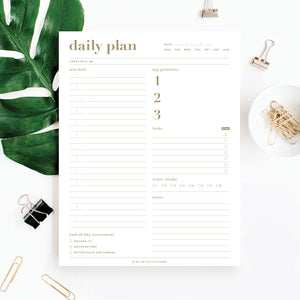 Essential Daily Planner 8.5 x 11 with 50 Undated Tear-Off Sheets, Metallic Gold Organizer Notepad to Track Productivity, Your Schedule, tasks, Water Intake, Notes and More