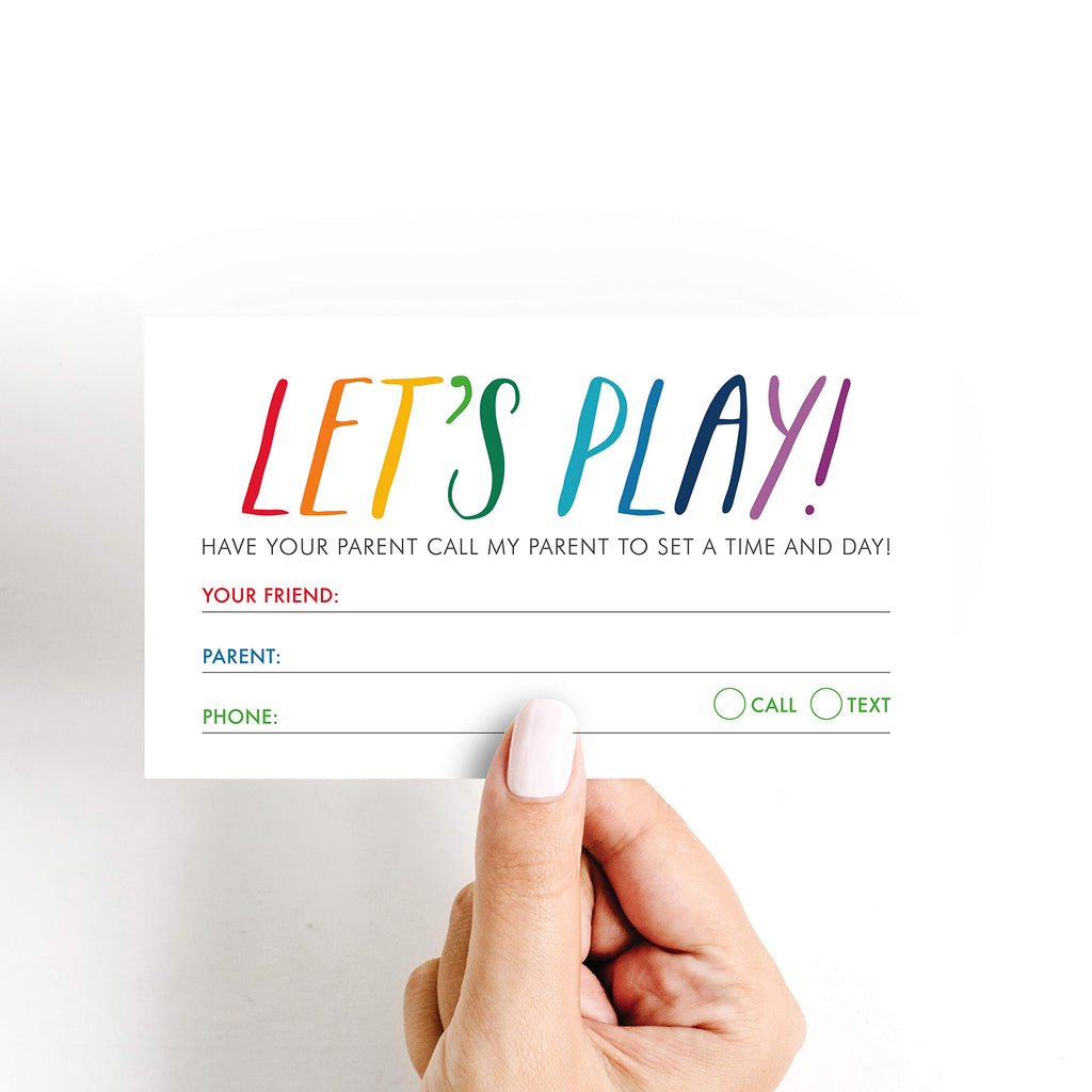 Playdate Calling Cards, Mommy and Daddy Contact Cards, Kids and Children Summer Phone Play Date Cards, 3.5x2 inches (50 Pack)