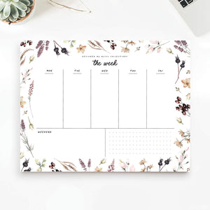 Weekly Planner with 50 Undated 8.5 x 11 Tear-Off Sheets - Shade Garden Organizer, Scheduler, Productivity Tracker for Organizing Goals, Tasks, Ideas, Notes, to Do Lists