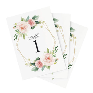Geometric Floral Wedding Table Numbers, 1-40, Centerpiece Decorations, Double Sided 4x6 Blush, Coral and Greenery Geometric Style Design, Numbers 1-40 & Head Table Card Included — from