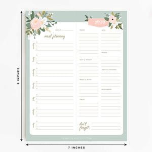 "Magnetic Meal Planner Notepad, 50 Sheets - Garden Soiree 6 x 9"" to Do List and Organizer for Groceries, Meal Prep, Notes, Tasks to Keep You Organized, Easy Tear-Off Sheets"
