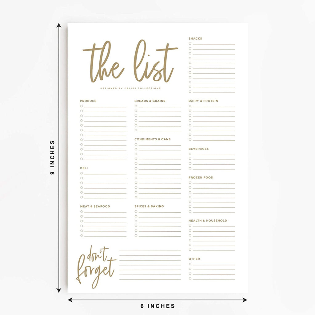 Grocery List Pad for Fridge, Luxe Tear Off Notepad for Refrigerator, 6 x 9 inches, 50 Sheets