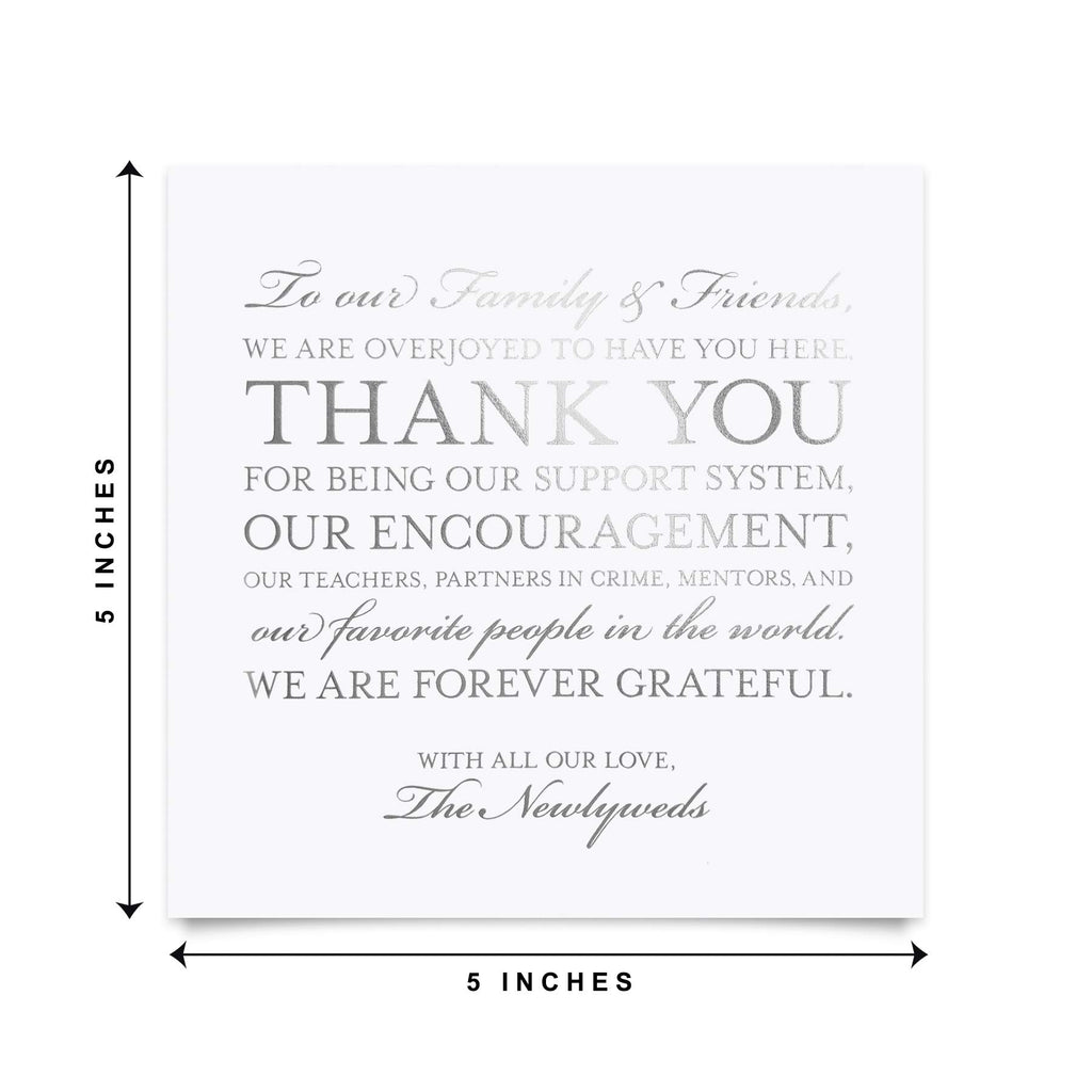 Wedding Thank You Place Setting Table Cards in REAL SILVER FOIL - Great Addition to Your Centerpiece Decor or Wedding Decorations for Reception, Pack of 50, 5x5 Design