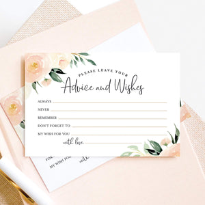 Mad Libs Advice and Wishes Cards for the New Mr and Mrs, Blush Floral, Bride and Groom, Newlyweds, Perfect Addition to Your Wedding Reception Decorations or Bridal Shower, Pack of 50