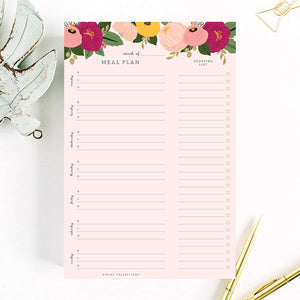 Magnetic Meal Planner Notepad, 50 Sheets - Blush Floral to Do List and Organizer for Groceries, Meal Prep, Notes and Tasks to Keep You Organized - Easy Tear-Off Sheets Writing Pad