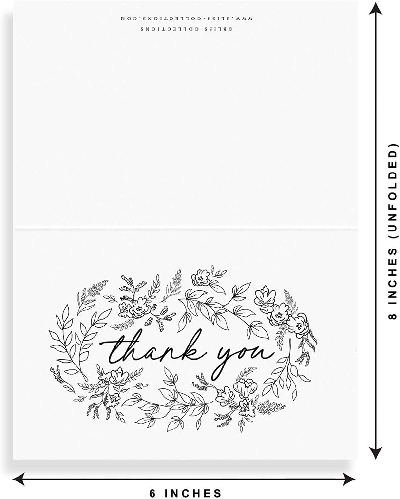 Black Floral Thank You Cards with Kraft Envelopes, Pack of 25, 4x6 Folded, Tented, Bulk, Perfect for: Wedding, Bridal Shower, Baby Shower, Birthday, or just to say thanks!