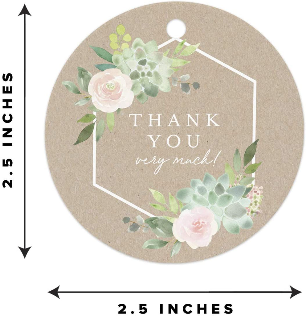 Printed Kraft Succulent Round Favor Thank You Tags