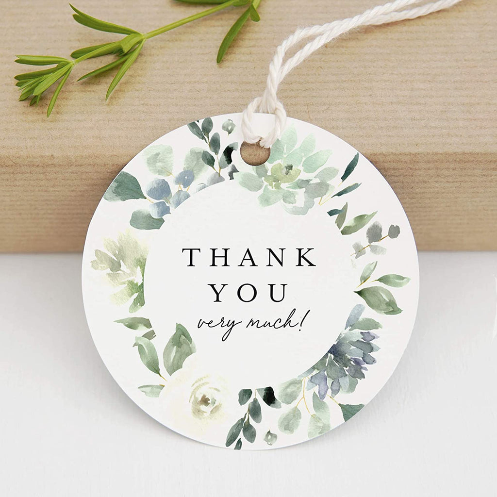Succulent Round Favor Thank You Tags