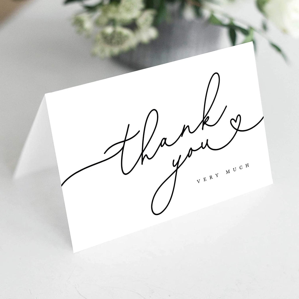 Black Script Heart Thank You Cards with Kraft Envelopes, Pack of 25, 4x6 Folded, Tented, Bulk, Perfect for: Wedding, Bridal Shower, Baby Shower, Birthday, or just to say thanks!