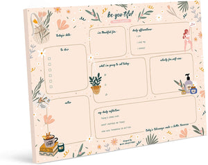 Daily Planner with 50 Undated 8.5 x 11 Tear-Off Sheets - Balanced Self-Care Calendar, Organizer, Scheduler, Productivity Tracker for Organizing Goals, Tasks, Notes, to Do Lists