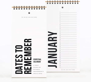 Black Perpetual Calendar, Important Dates to Remember, 5x10 Monthly and Daily Wall Hanging Journal for Special Days, Birthdays, Anniversaries — Stay Organized - Never Forget a Date!