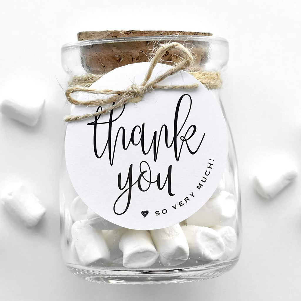 Thank You Tags, White Round Gift Tags with Black Calligraphy