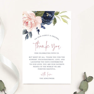 Wedding Reception Thank You Cards, Pack of 50 Navy Floral Cards, Great Addition to Your Table Centerpiece,