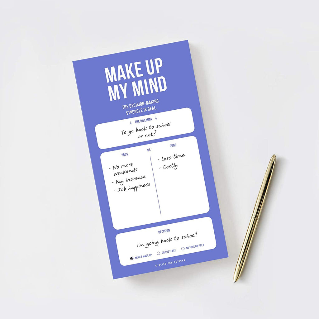 Uncommon Notepads, Memo Pads and To Do Lists, Make Up My Mind Pro Con Note Pad to Help Make Daily Big and Small Decisions