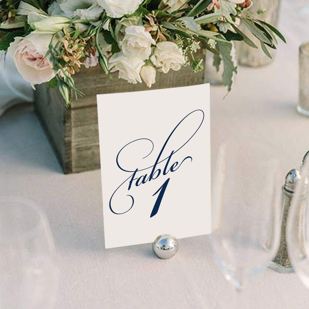 Navy Wedding Table Numbers (Assorted Color Options Available), Double Sided 4x6 Calligraphy Design, Numbers 1-40 & Head Table Card Included