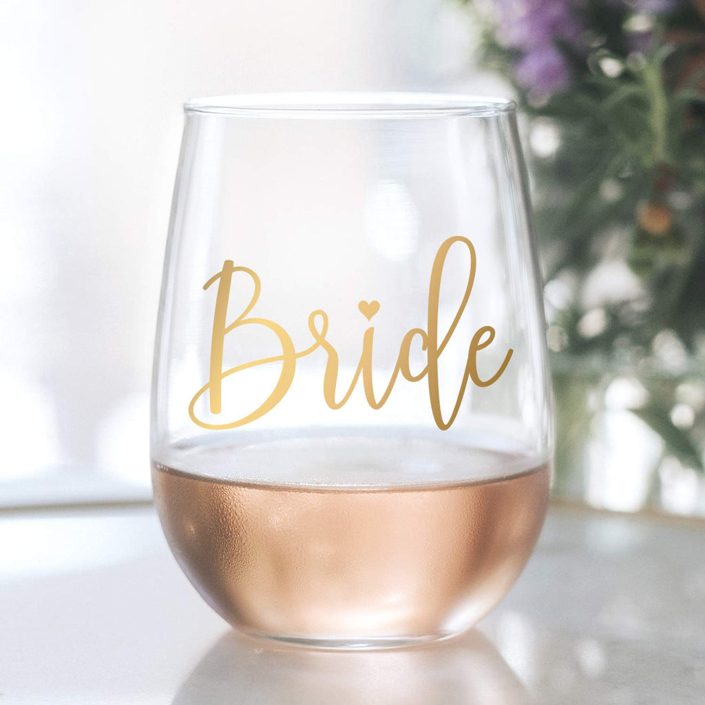 Bride Wine Glass - 20 oz Stemless Wine Glass with gold foil decal — Perfect Engagement Party, Bridal Shower, Bachelorette Party or Wedding Gift — Gift box included! (LEAD FREE & BPA FREE)