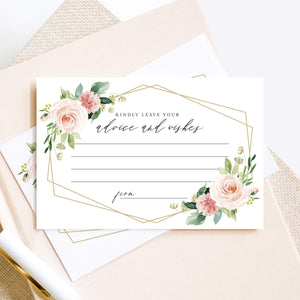 Advice and Wishes Cards, Blush Floral Geometric Design, Perfect for the Bride and Groom, Baby Shower, Bridal Shower, Graduate or event! 4x6 cards (Pack of 50)