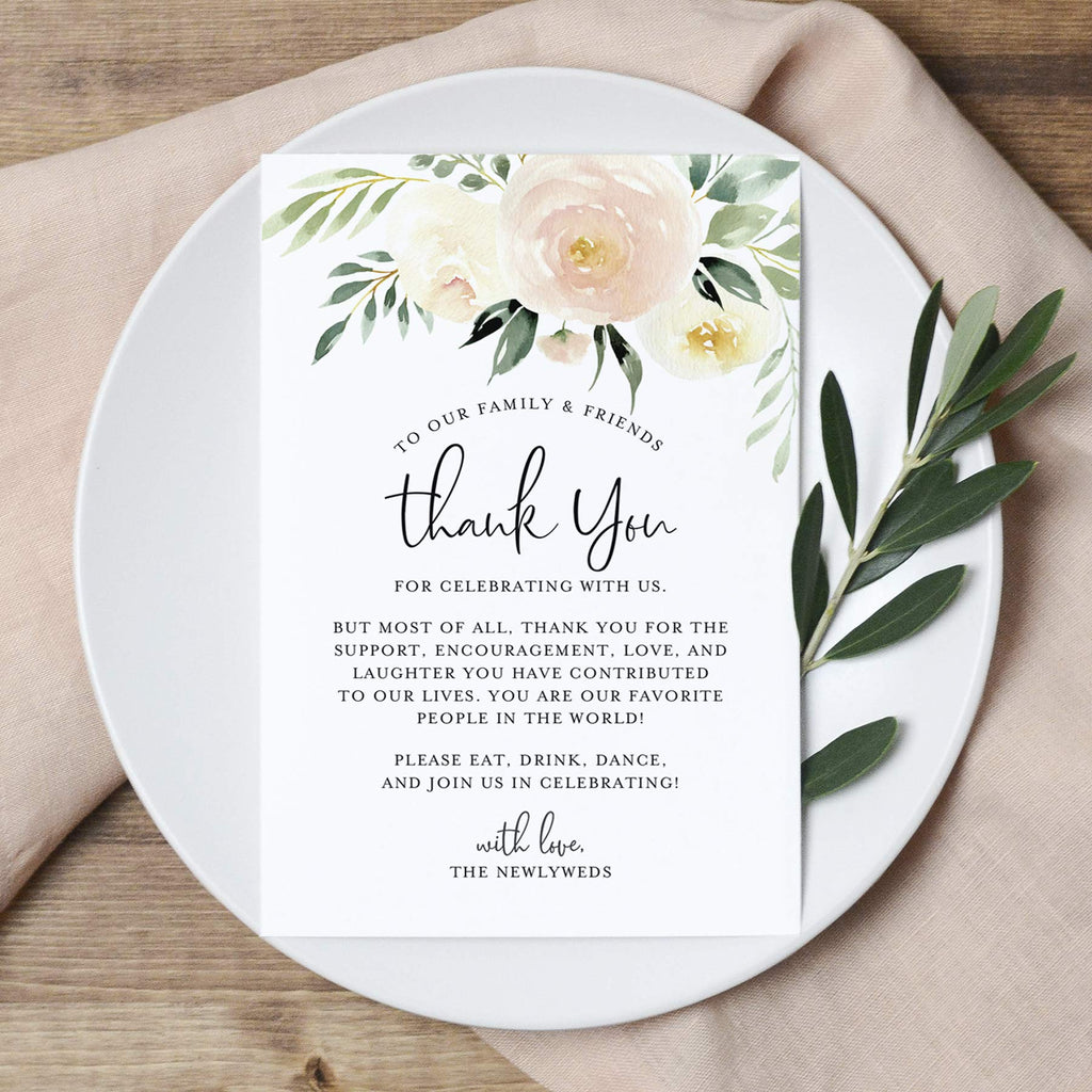 Blush Floral Wedding Thank You Place Setting Cards, 4x6 Print to add to your Table Centerpieces and Wedding Decorations — Pack of 50