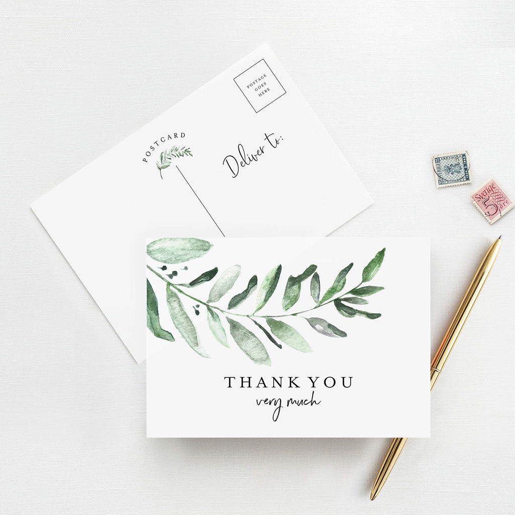 Greenery Thank You Cards, Postcard Style Notes, Floral Design Perfect for: Wedding, Bridal Shower, Baby Shower, Birthday, Funeral or a Great Way just to say Thanks! (Pack of 50)
