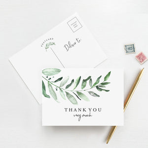 50 Greenery Thank You Postcards for any occasion