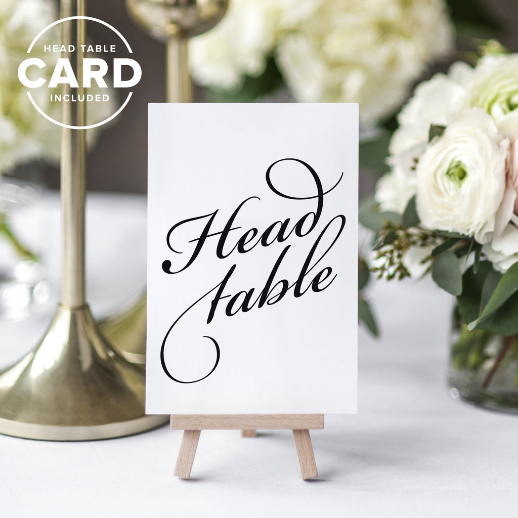 Black Wedding Table Numbers (Assorted Color Options Available), Double Sided 4x6 Calligraphy Design, Numbers 1-40 & Head Table Card Included