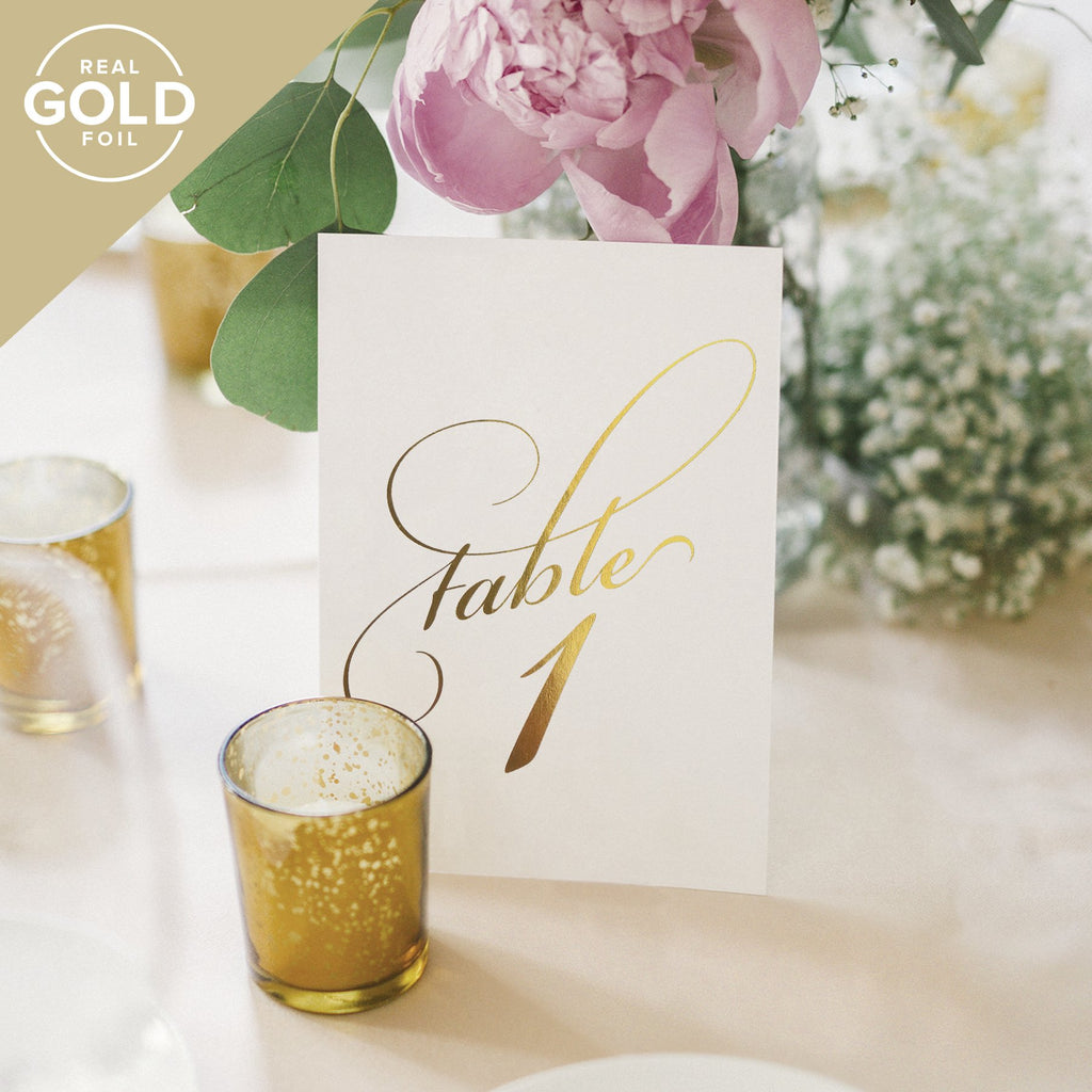 1-40 Gold foil table numbers for any occasion
