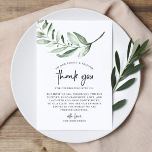 Greenery Wedding Thank You Place Setting Cards, 4x6 Print to add to your Table Centerpieces and Wedding Decorations - Pack of 50