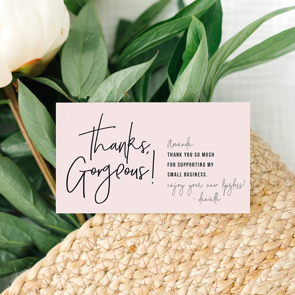 Thank You For Supporting My Small Business Cards, Premium design, 2 x 3.5 business card size, perfect for small business owners, thanks gorgeous feminine design, 50 pack