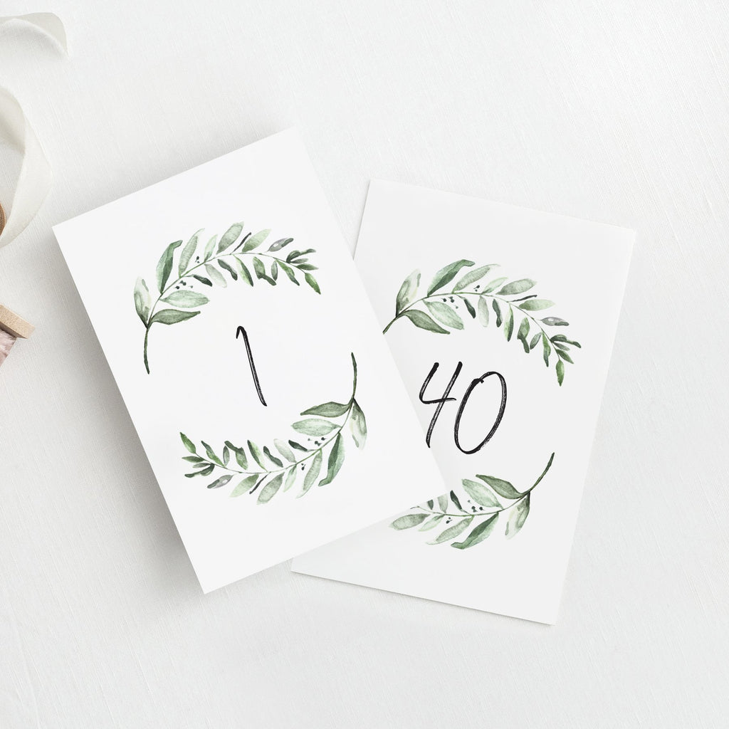 1-40 Greenery Table Numbers for any Occasion