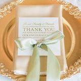 Wedding Thank You Place Setting Cards in REAL GOLD FOIL, 5x5 Print to add to your Table Centerpieces and Wedding Decorations - Pack of 50