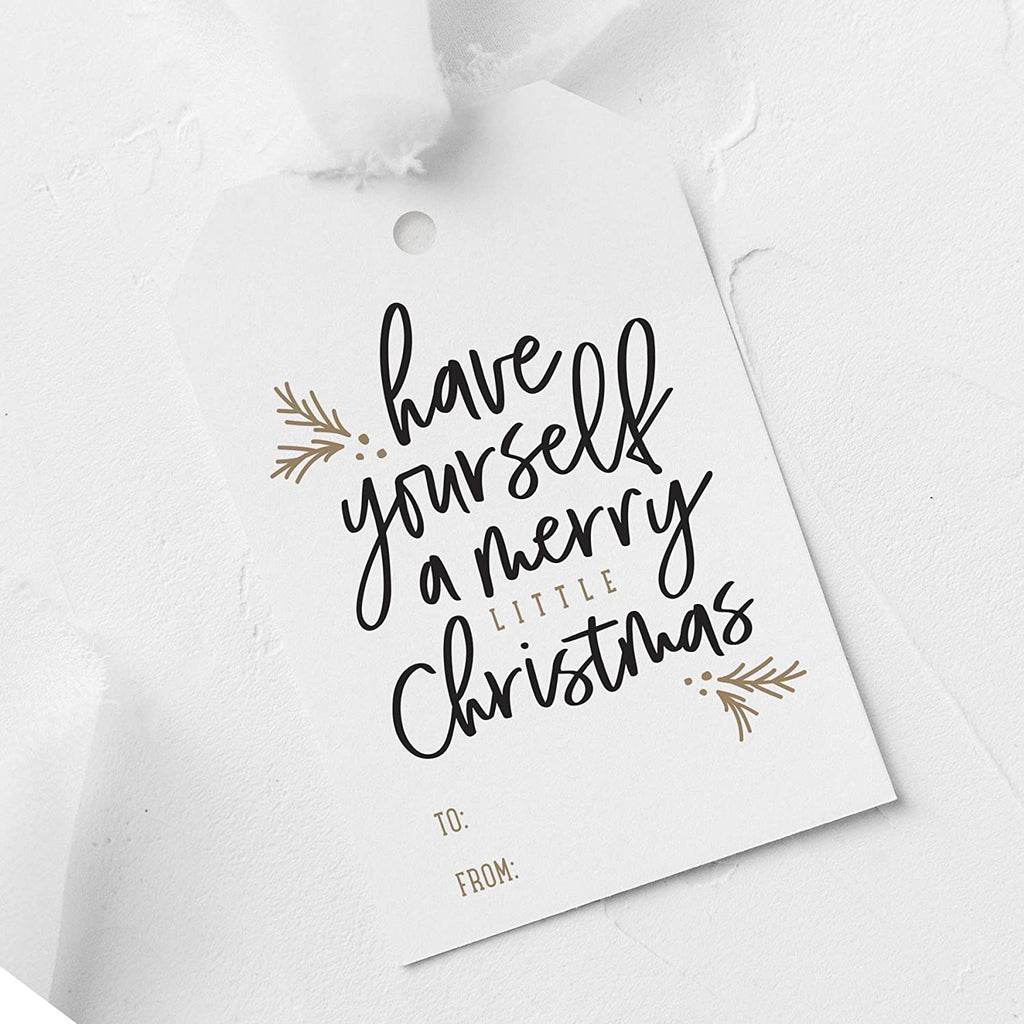 Merry Little Christmas Tags, Pack of 50, Gold and Black