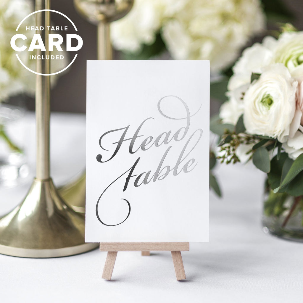 Silver Wedding Table Numbers (Assorted Color Options Available), Double Sided 4x6 Calligraphy Design, Numbers 1-40 & Head Table Card Included, by Bliss Collections