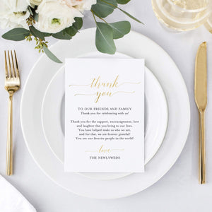 Wedding Thank You Place Setting Table Cards in REAL GOLD FOIL and black ink - Great Addition to Your Centerpiece Decor or Wedding Decorations for Reception, Pack of 50, 4x6 Design