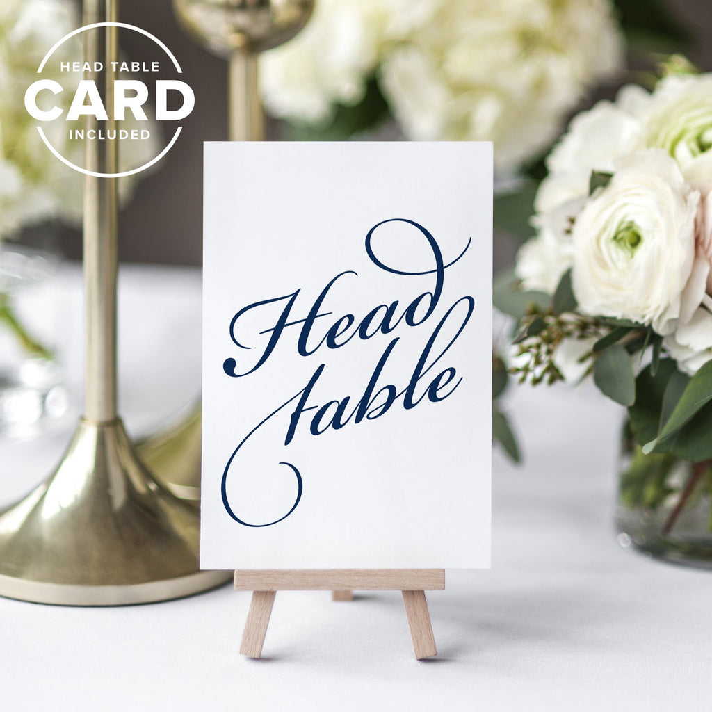 Navy Wedding Table Numbers (Assorted Color Options Available), Double Sided 4x6 Calligraphy Design, Numbers 1-25 & Head Table Card Included — from Bliss Collections