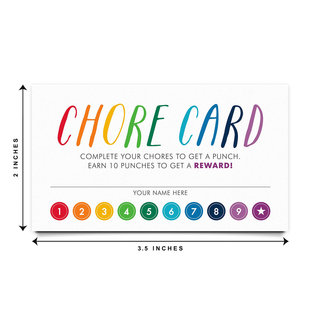 Chore Punch Cards, Rewards Incentive Loyalty Card, Behavior, for Kids, Children and Students, 3.5x2 inches