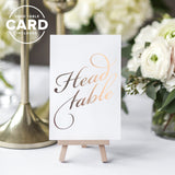 Rose Gold Wedding Table Numbers (Assorted Color Options Available), Double Sided 4x6 Calligraphy Design, Numbers 1-25 & Head Table Card Included by Bliss Collections