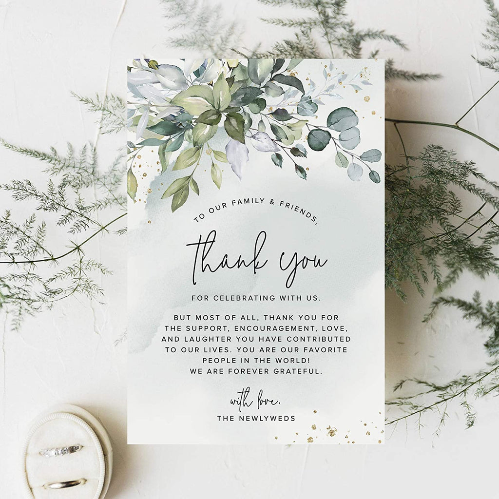 Wedding Place Setting Thank You Cards for Your Table Centerpieces and Wedding Decorations