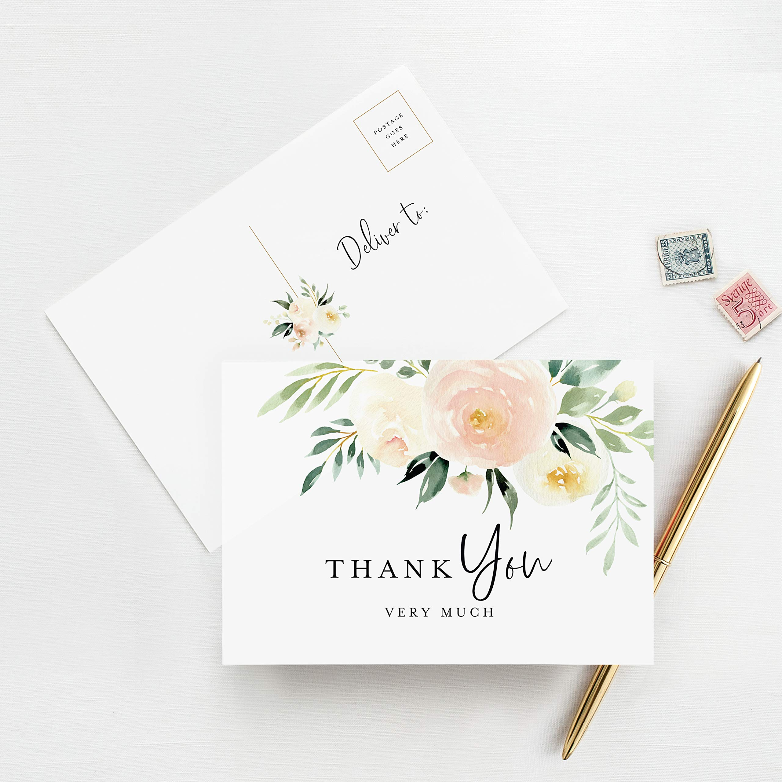 Bridal Party Thank You Cards Set of 10 Blush Floral Bridesmaid Thank You Cards