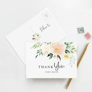 Thank You Cards, Postcard Style Notes, Blush Floral Design Perfect for: Wedding, Bridal Shower, Baby Shower, Birthday, Funeral or a Great Way just to say Thanks! (Pack of 50)