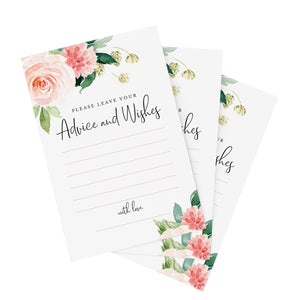 Advice and Wishes Cards, Boho Floral Blush Pink and Greenery Design, Perfect for the Bride and Groom, Baby Shower, Bridal Shower, Graduate or Event! Pack of 50 4x6 Cards