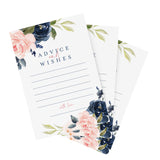 Navy Floral Advice and Wishes Cards for the Bride and Groom, Perfect for: Bridal Shower, Baby Shower, Graduation, Wedding, Pack of 50 4x6 Cards
