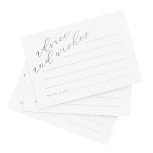 Silver Advice and Wishes Cards, Perfect for the Bride and Groom, Mr and Mrs, Baby Shower, Bridal Shower, Wedding, Graduation or Special Event, 50 Pack of 4x6 Cards